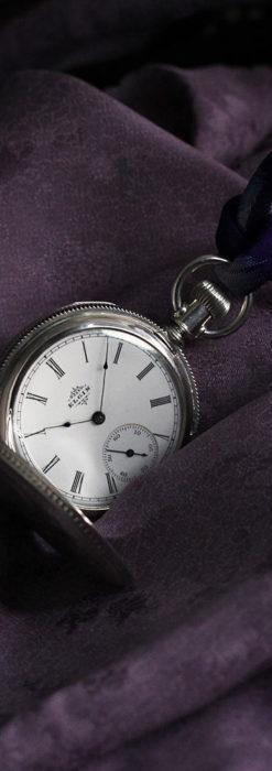 エルジン 模様彫り・蓋付きの銀無垢アンティーク懐中時計 【1891年製】-P2280-2