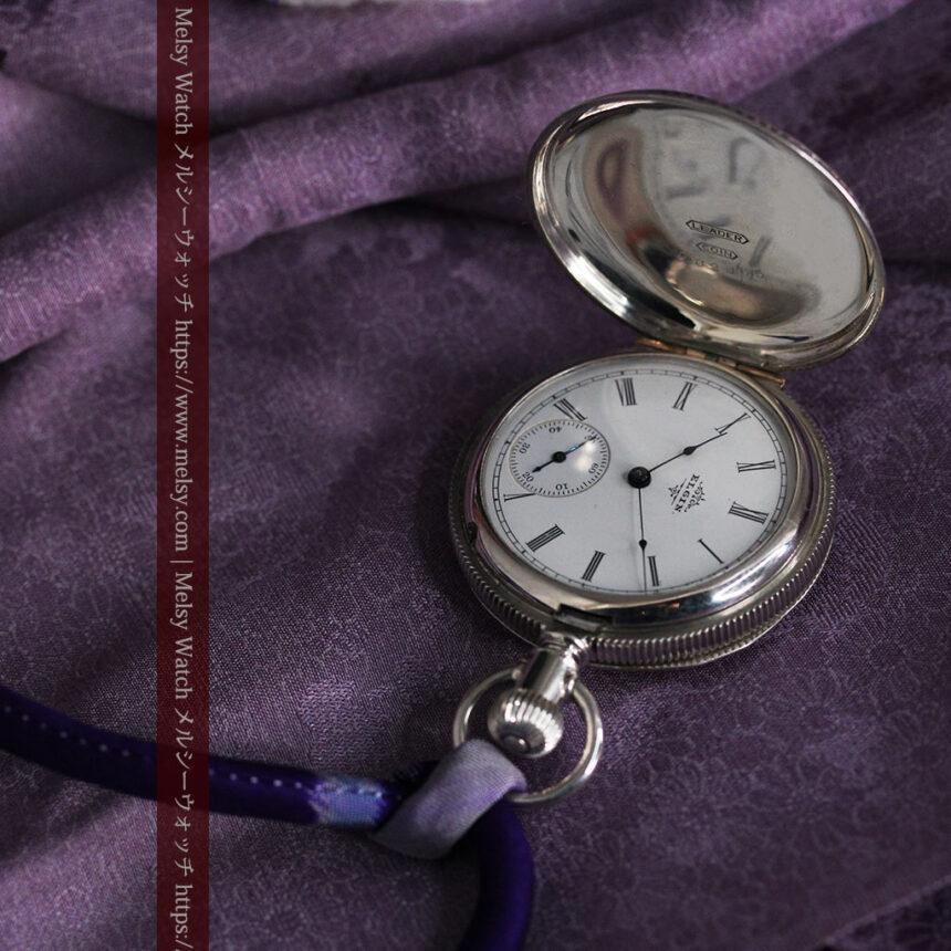 エルジン 模様彫り・蓋付きの銀無垢アンティーク懐中時計 【1891年製】-P2280-3