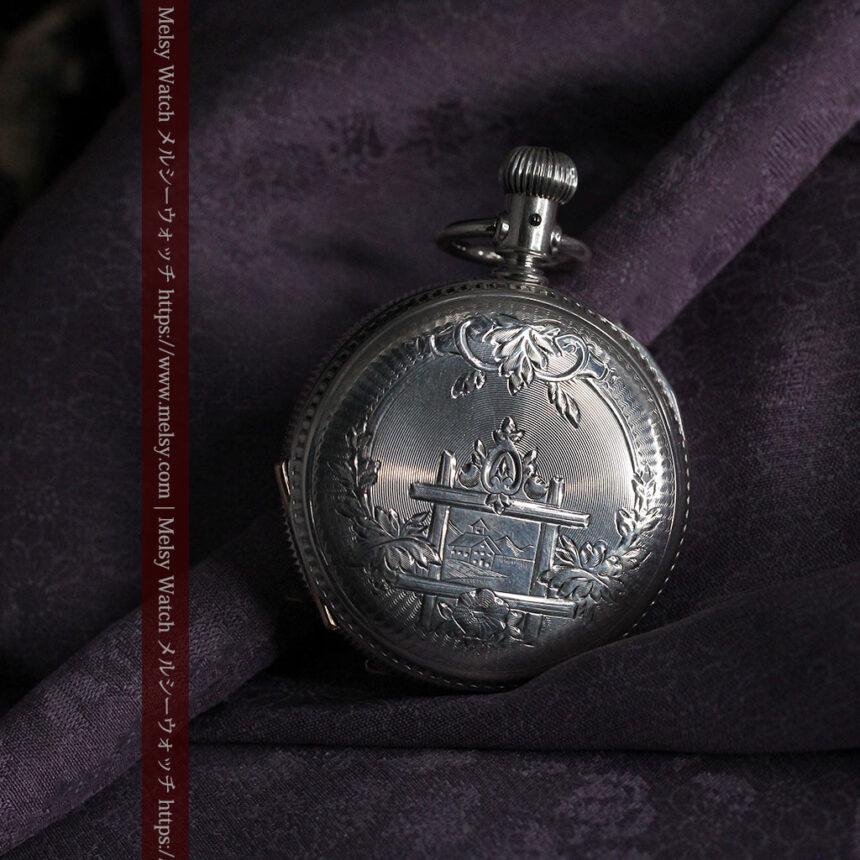 エルジン 模様彫り・蓋付きの銀無垢アンティーク懐中時計 【1891年製】-P2280-4