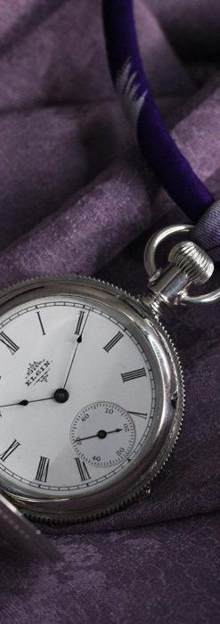 エルジン 模様彫り・蓋付きの銀無垢アンティーク懐中時計 【1891年製】-P2280-5