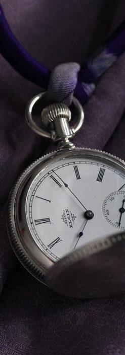 エルジン 模様彫り・蓋付きの銀無垢アンティーク懐中時計 【1891年製】-P2280-6