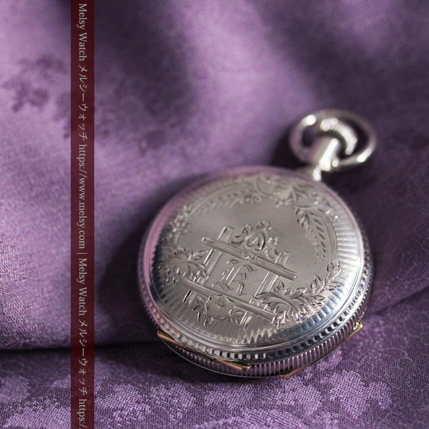 エルジン 模様彫り・蓋付きの銀無垢アンティーク懐中時計 【1891年製】-P2280-7