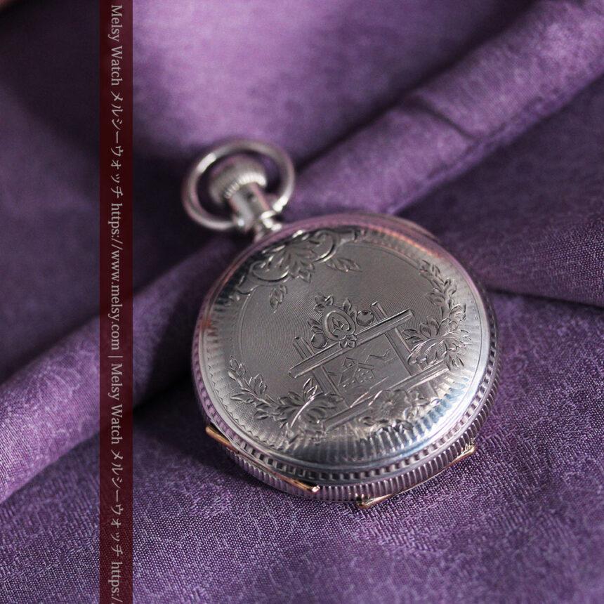 エルジン 模様彫り・蓋付きの銀無垢アンティーク懐中時計 【1891年製】-P2280-8
