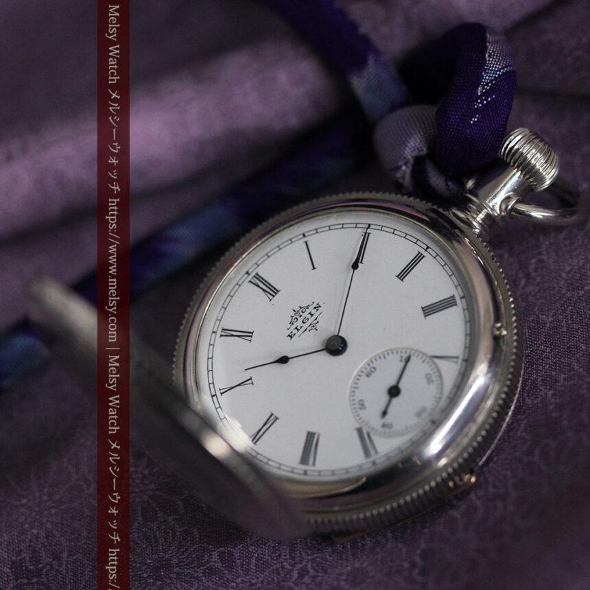 エルジン 模様彫り・蓋付きの銀無垢アンティーク懐中時計 【1891年製】-P2280-9
