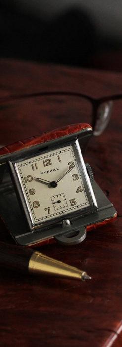 ダンヒル 革張り携行用アンティーク懐中時計・置時計 【1940年頃】-P2281-1