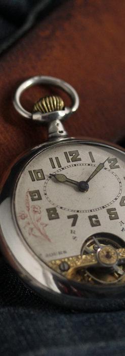 ヘブドマス 銀無垢8日巻きアンティーク懐中時計 【1920年頃】-P2282-1