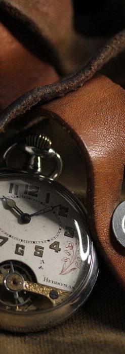ヘブドマス 銀無垢8日巻きアンティーク懐中時計 【1920年頃】-P2282-2
