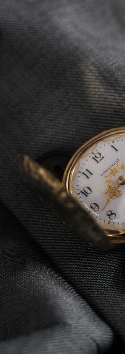 繊細な装飾の綺麗なウォルサムの金無垢アンティーク懐中時計 【1904年製】-P2284-1