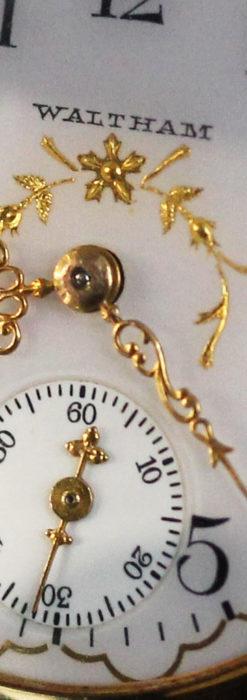 繊細な装飾の綺麗なウォルサムの金無垢アンティーク懐中時計 【1904年製】-P2284-2