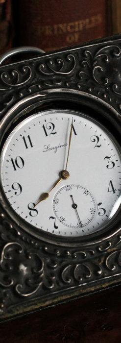ロンジンの銀無垢懐中時計と銀のスタンド 【1908年製】-P2285-1