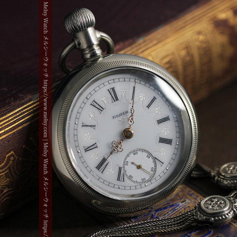 エルジンのアンティーク懐中時計 雪の結晶【1900年製】チェーン付き-P2286-1