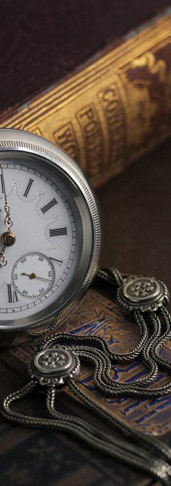 エルジンのアンティーク懐中時計 雪の結晶【1900年製】チェーン付き-P2286-2