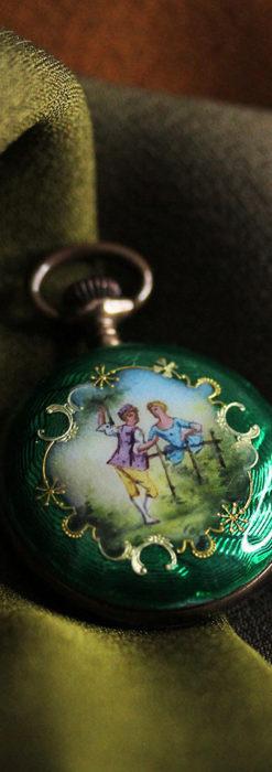 深緑のエナメル装飾 スイス製銀無垢アンティーク懐中時計-P2287-2