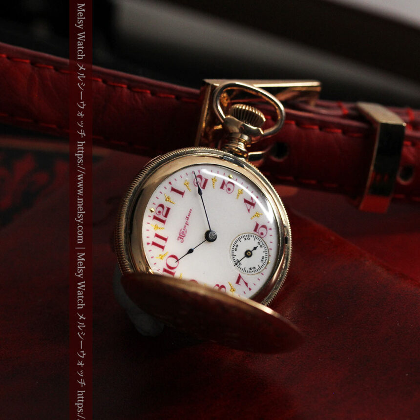 ワインレッドと金彩装飾 ハンプデンのアンティーク懐中時計 【1908年製】-P2288-4