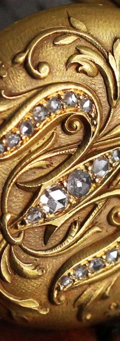 ロンジン 18金無垢アンティーク懐中時計 紋章型ダイヤモンド装飾 【1906年製】-P2289-33