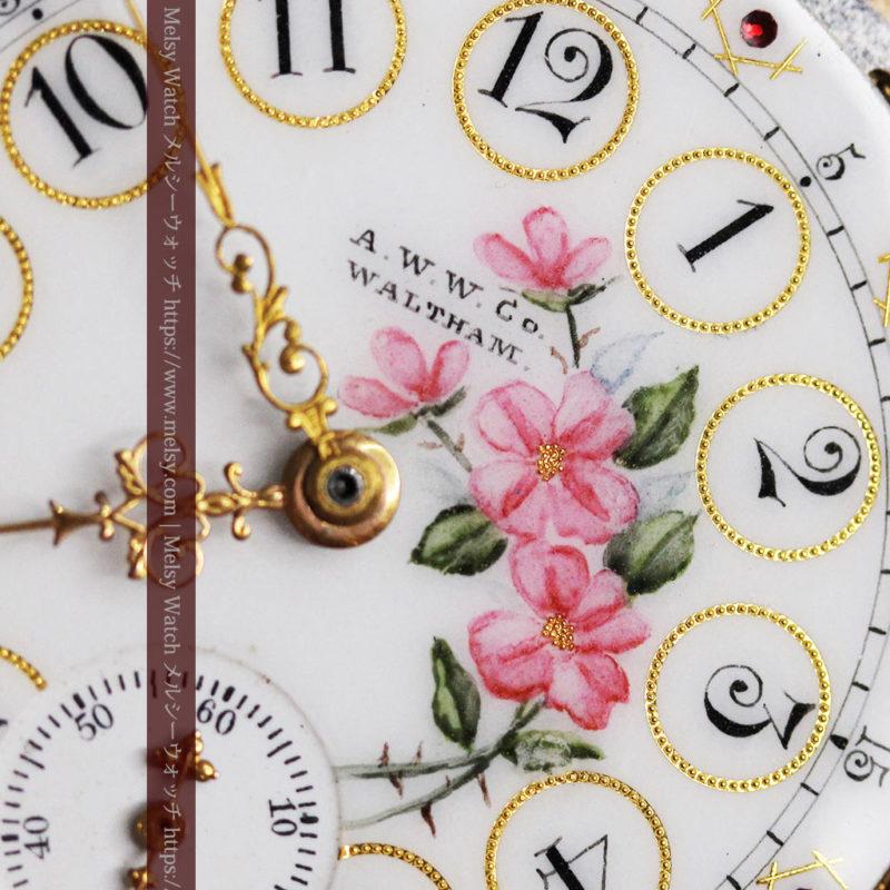 ウォルサム 金無垢アンティーク懐中時計 美しい花と金彩装飾【1886年製】箱付き-P2290-1