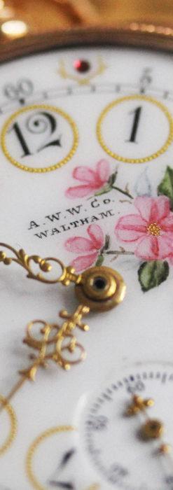 ウォルサム 金無垢アンティーク懐中時計 美しい花と金彩装飾【1886年製】箱付き-P2290-2