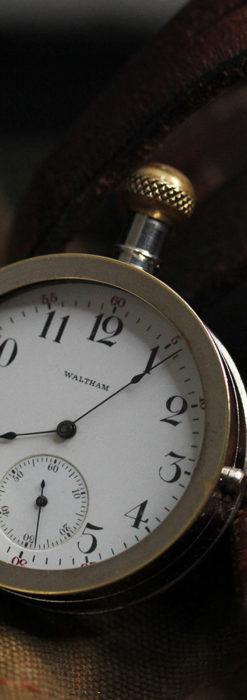 ウォルサムのスケルトン懐中時計と腕時計兼用バンド 【1900年頃】-P2291-1