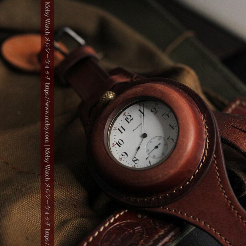 ウォルサムのスケルトン懐中時計と腕時計兼用バンド 【1900年頃】-P2291-11