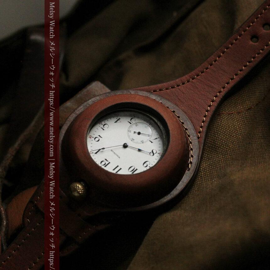 ウォルサムのスケルトン懐中時計と腕時計兼用バンド 【1900年頃】-P2291-12
