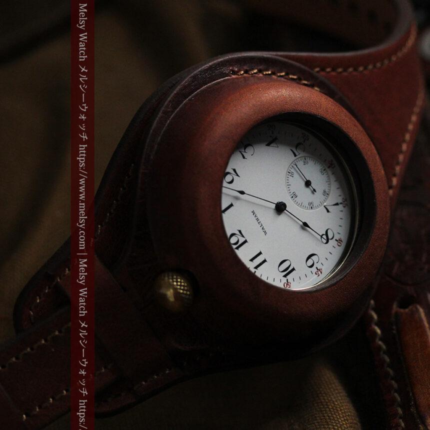 ウォルサムのスケルトン懐中時計と腕時計兼用バンド 【1900年頃】-P2291-13