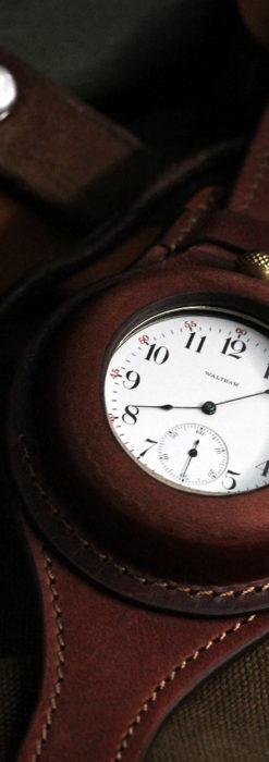 ウォルサムのスケルトン懐中時計と腕時計兼用バンド 【1900年頃】-P2291-14