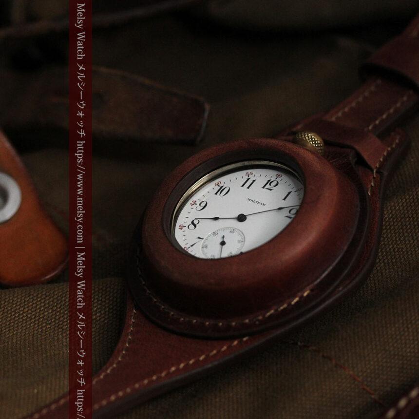 ウォルサムのスケルトン懐中時計と腕時計兼用バンド 【1900年頃】-P2291-15