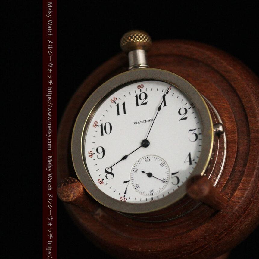 ウォルサムのスケルトン懐中時計と腕時計兼用バンド 【1900年頃】-P2291-19