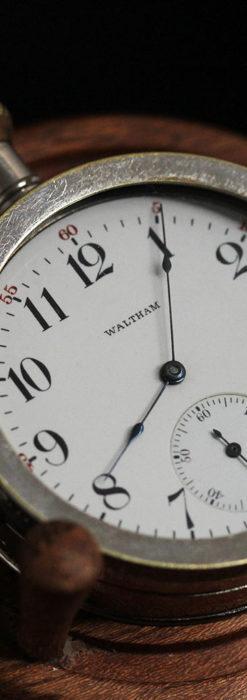 ウォルサムのスケルトン懐中時計と腕時計兼用バンド 【1900年頃】-P2291-20