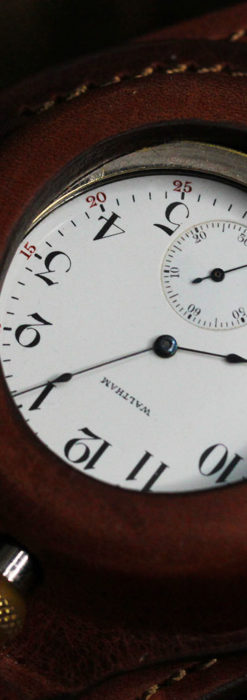 ウォルサムのスケルトン懐中時計と腕時計兼用バンド 【1900年頃】-P2291-25