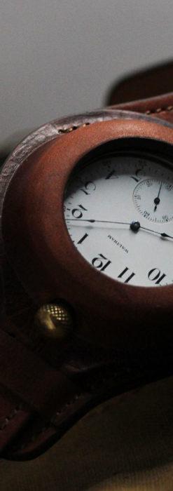 ウォルサムのスケルトン懐中時計と腕時計兼用バンド 【1900年頃】-P2291-3