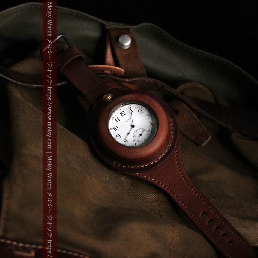 ウォルサムのスケルトン懐中時計と腕時計兼用バンド 【1900年頃】-P2291-4