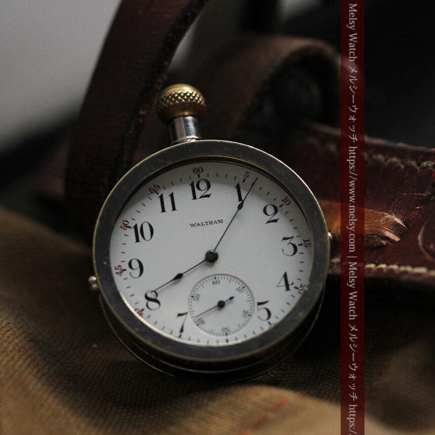 ウォルサムのスケルトン懐中時計と腕時計兼用バンド 【1900年頃】-P2291-5