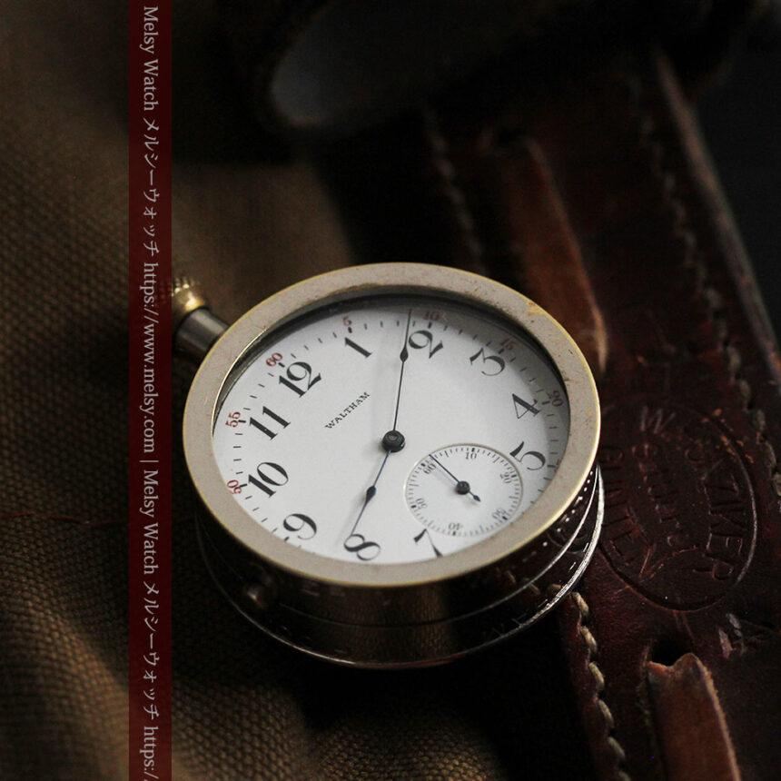 ウォルサムのスケルトン懐中時計と腕時計兼用バンド 【1900年頃】-P2291-7