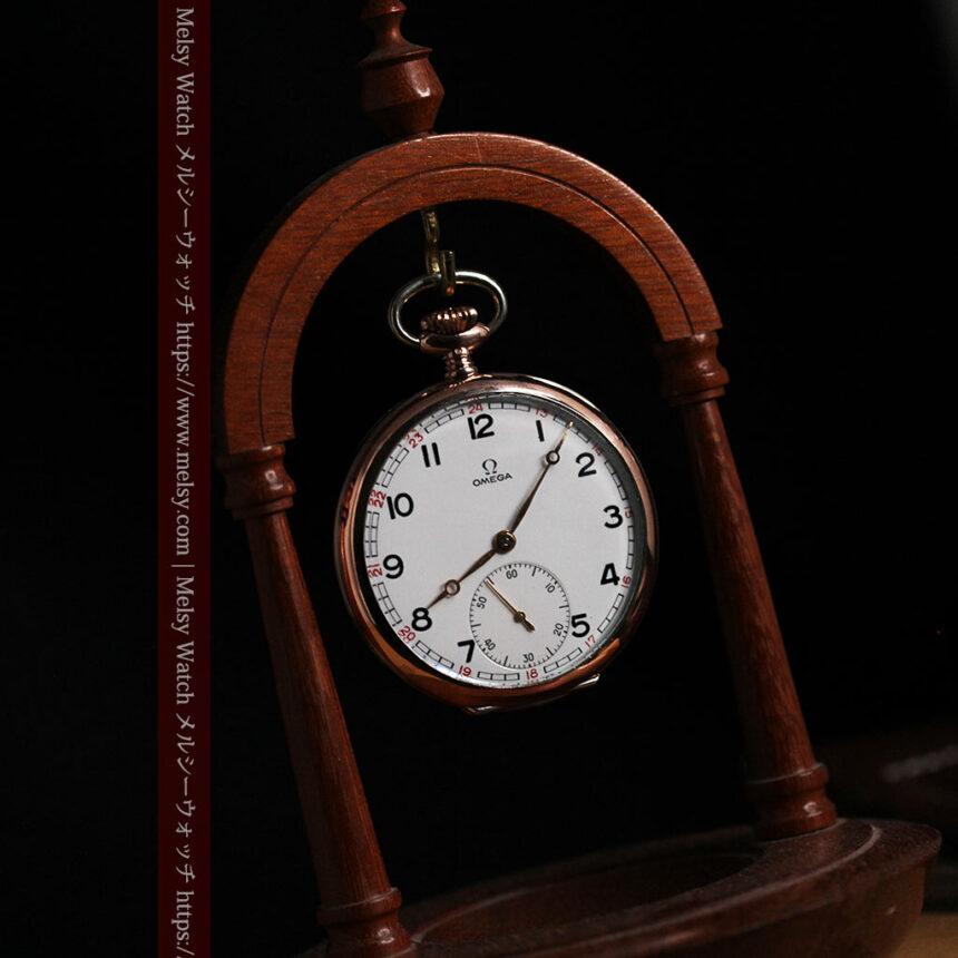 オメガ ローズ色の銀無垢アンティーク懐中時計 【1941年製】-P2293-11