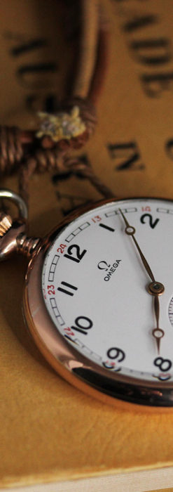 オメガ ローズ色の銀無垢アンティーク懐中時計 【1941年製】-P2293-18