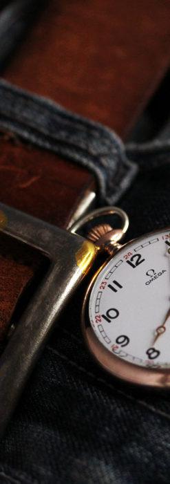 オメガ ローズ色の銀無垢アンティーク懐中時計 【1941年製】-P2293-2