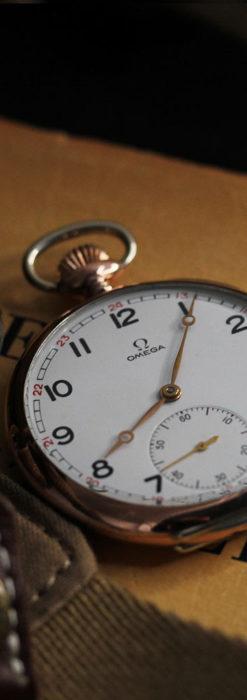 オメガ ローズ色の銀無垢アンティーク懐中時計 【1941年製】-P2293-4