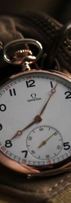 オメガ ローズ色の銀無垢アンティーク懐中時計 【1941年製】-P2293-5