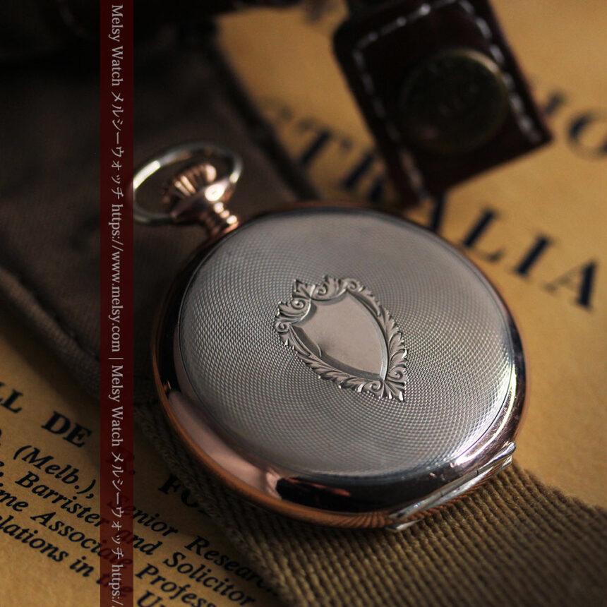 オメガ ローズ色の銀無垢アンティーク懐中時計 【1941年製】-P2293-6