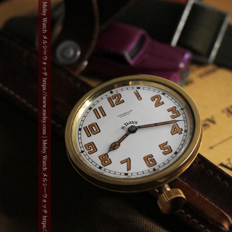 英国ベンソン 8日巻きの大型アンティーク懐中時計 【1920年頃】-P2294-1