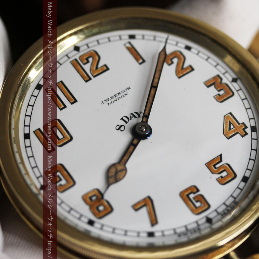英国ベンソン 8日巻きの大型アンティーク懐中時計 【1920年頃】-P2294-14