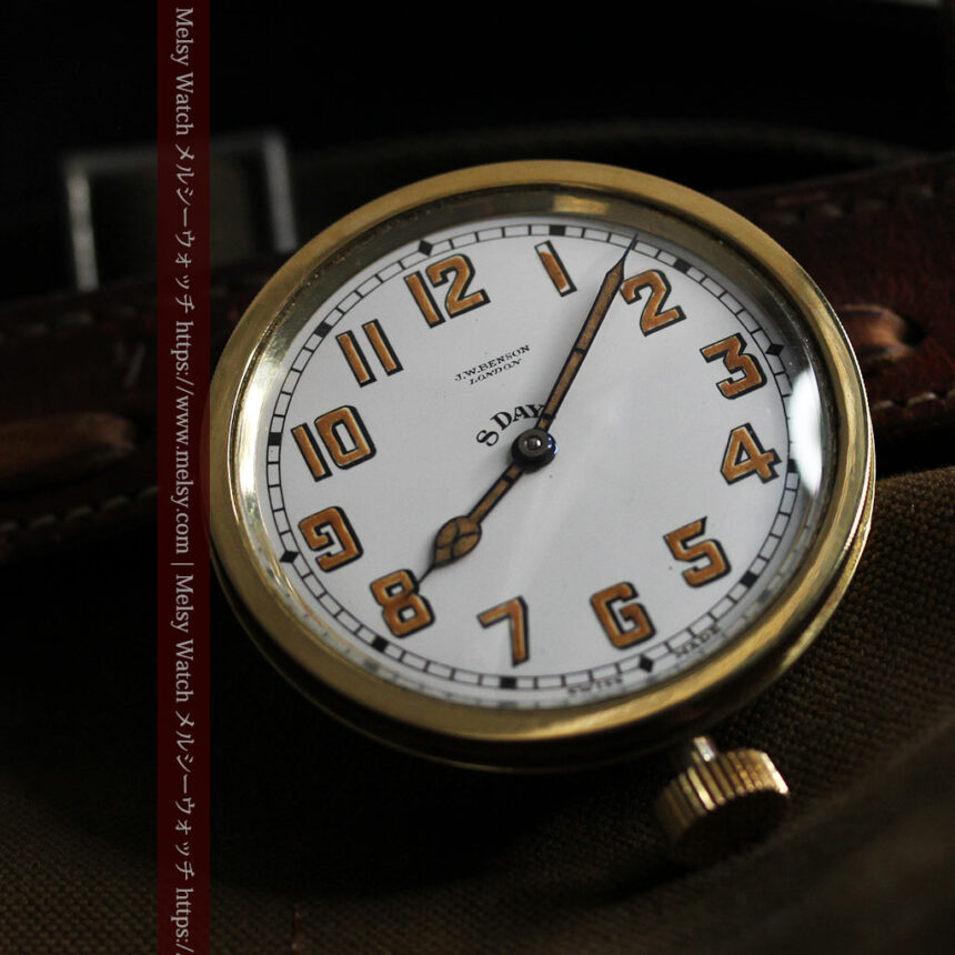 英国ベンソン 8日巻きの大型アンティーク懐中時計 【1920年頃】-P2294-3