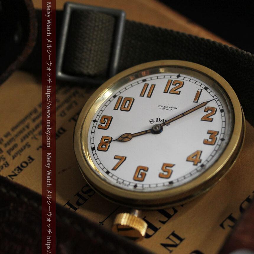 英国ベンソン 8日巻きの大型アンティーク懐中時計 【1920年頃】-P2294-6