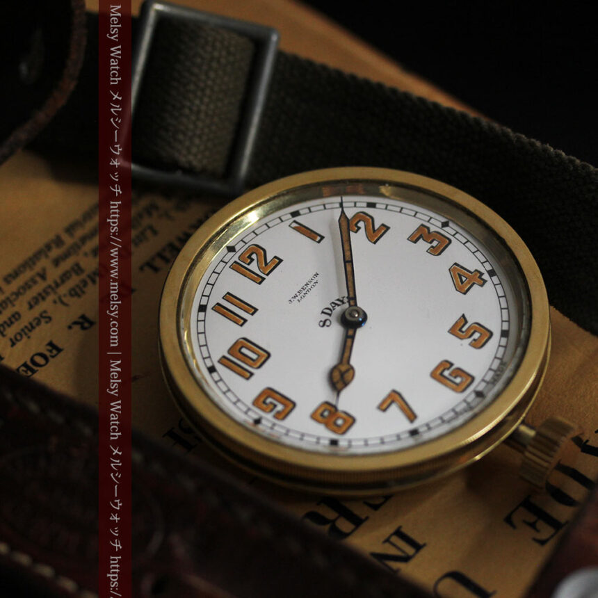 英国ベンソン 8日巻きの大型アンティーク懐中時計 【1920年頃】-P2294-7
