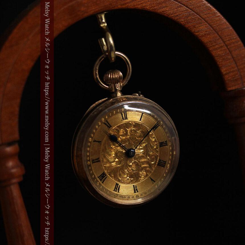 装飾の綺麗なスイス製の金無垢アンティーク懐中時計 【1913年製】-P2295-10