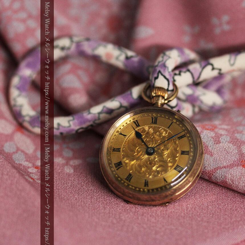 装飾の綺麗なスイス製の金無垢アンティーク懐中時計 【1913年製】-P2295-2