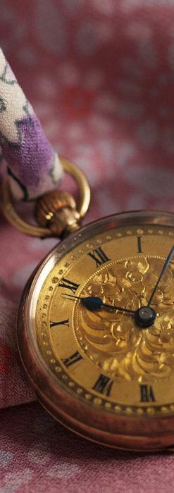 装飾の綺麗なスイス製の金無垢アンティーク懐中時計 【1913年製】-P2295-3