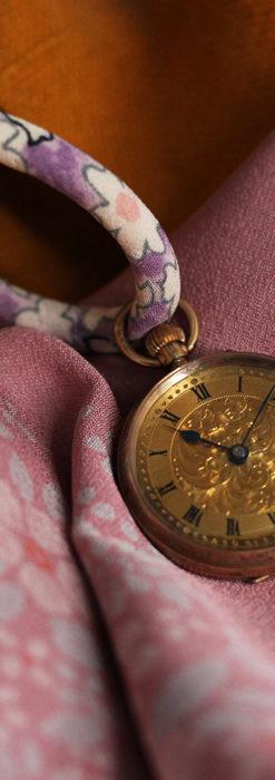装飾の綺麗なスイス製の金無垢アンティーク懐中時計 【1913年製】-P2295-4