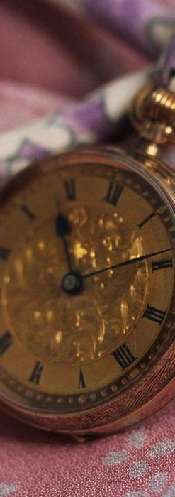 装飾の綺麗なスイス製の金無垢アンティーク懐中時計 【1913年製】-P2295-7